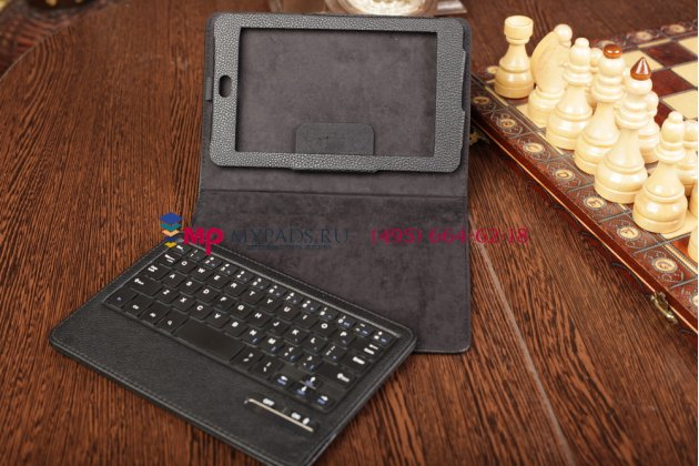 Чехол со съёмной bluetooth клавиатурой для asus google nexus 7 1-го поколения 2012 черный кожаный + гарантия