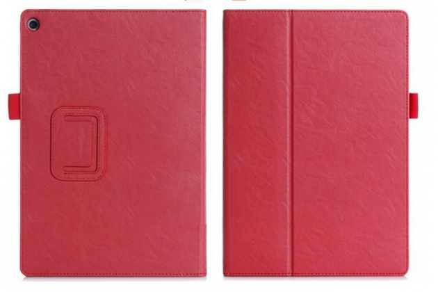 """Чехол бизнес класса для asus zenpad 10 z300cg/z300cl/z300c/z300m с визитницей и держателем для руки красный натуральная кожа """"prestige"""" италия"""