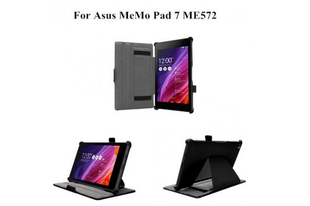 """Чехол для планшета asus memo pad 7 me572c/me572cl k00r с мульти-подставкой и держателем для руки черный кожаный """"deluxe"""" италия"""