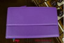 """Фирменный чехол бизнес класса для Asus Memo Pad 7 ME572 K00R с визитницей и держателем для руки фиолетовый натуральная кожа """"Prestige"""" Италия"""