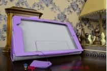 """Чехол бизнес класса для asus memo pad 7 me572 k00r с визитницей и держателем для руки фиолетовый натуральная кожа """"prestige"""" италия"""