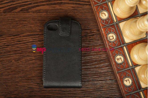 Вертикальный откидной чехол-флип для blackberry q10 черный кожаный