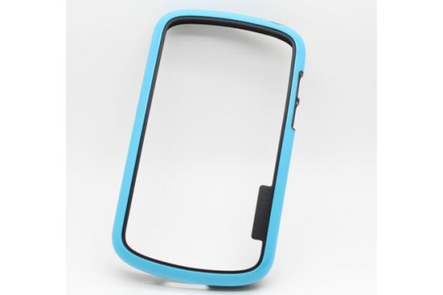 Ультра-тонкий чехол-бампер из мягкого силикона для blackberry q10 голубой