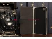 Фирменный оригинальный чехол-книжка для Blackberry Z10 черный кожаный..