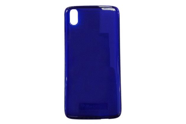 Ультра-тонкая полимерная из мягкого качественного силикона задняя панель-чехол-накладка с логотипом в упаковке для blackberry dtek50 синяя