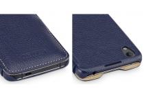 Умный премиальный элитный чехол-книжка из качественной импортной кожи с функцией засыпания для blackberry neon/ blackberry dtek50 синий