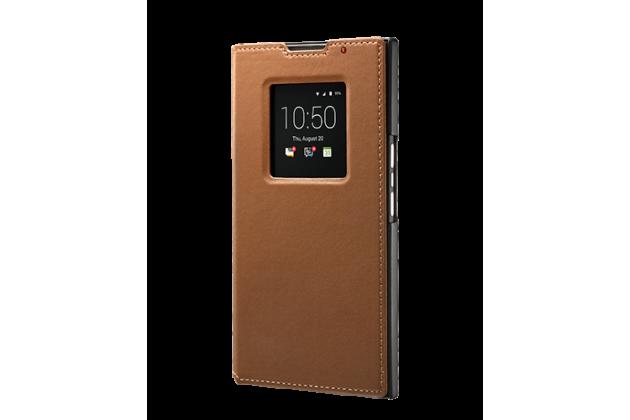 Подлинный чехол с логотипом для blackberry priv smart wake коричневый