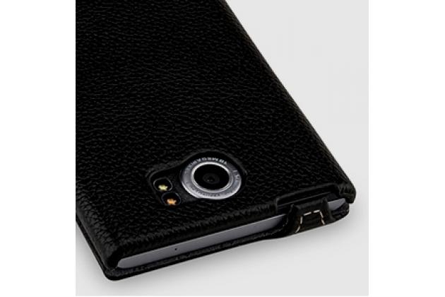 Умный вертикальный откидной чехол-флип для blackberry priv черный из натуральной кожи с функцией засыпания prestige италия