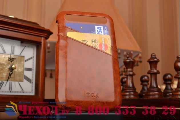 Роскошная элитная премиальная задняя панель-крышка для blackberry q20 classic из качественной кожи буйвола с визитницей коричневый