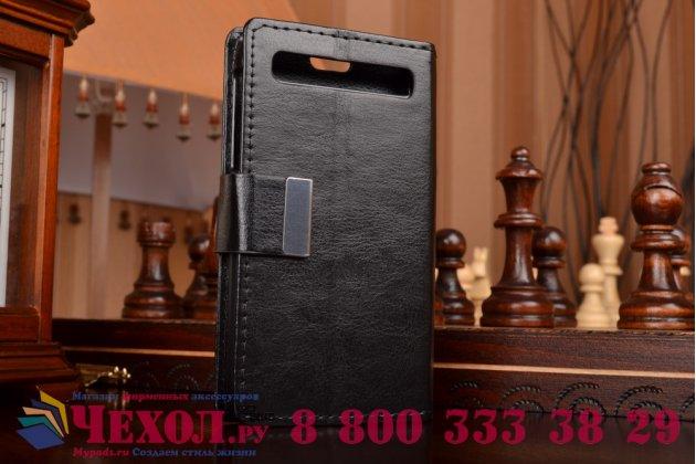 Чехол-книжка из качественной импортной кожи с подставкой застёжкой и визитницей для blackberry q20 classic черный