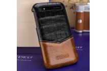 Роскошная элитная премиальная задняя панель-крышка для blackberry q20 classic из качественной кожи буйвола коричневая с черной вставкой под кожу рептилии