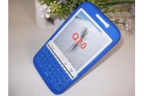 Силиконовый  чехол-пенал для blackberry q20 classic с 3d клавиатурой и защитой кнопок от пыли и воды синий
