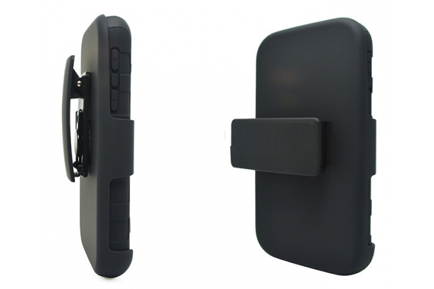 Противоударный усиленный ударопрочный чехол-бампер-пенал с клипсой на пояс для blackberry q20 classic черный