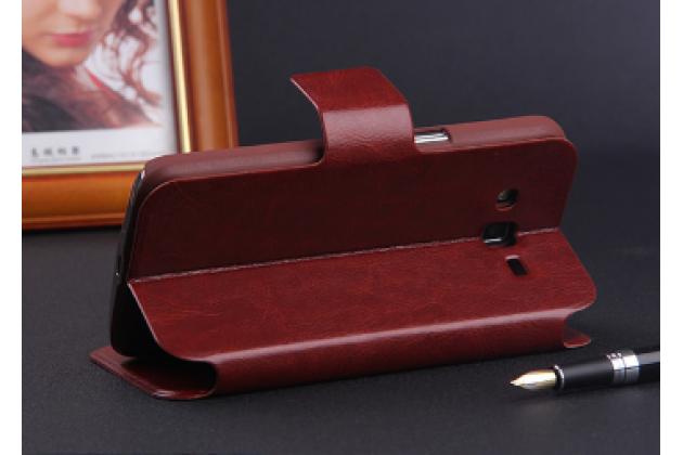 """Чехол-книжка из качественной импортной кожи с мульти-подставкой застёжкой и визитницей для блэкберри з3 5.0"""" коричневый"""