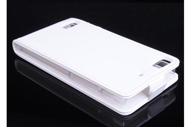 """Вертикальный откидной чехол-флип для blackberry z3 5.0"""" белый из натуральной кожи """"prestige"""" италия"""