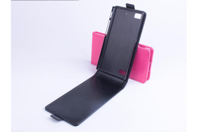 """Вертикальный откидной чехол-флип для blackberry z3 5.0"""" черный из натуральной кожи """"prestige"""" италия"""
