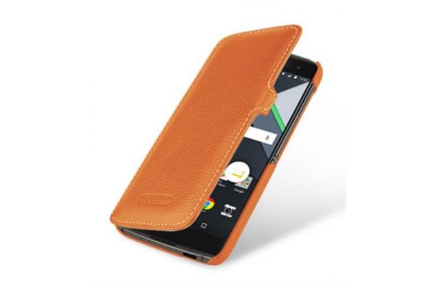 Умный премиальный элитный чехол-книжка из качественной импортной кожи с функцией засыпания для blackberry dtek60 коричневый