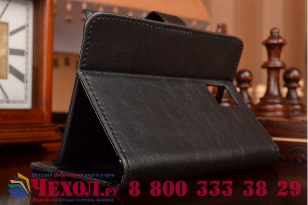 Премиальный чехол-книжка из качественной импортной кожи с мульти-подставкой застёжкой и визитницей для blackberry passport q30 из натуральной овечьей кожи черный