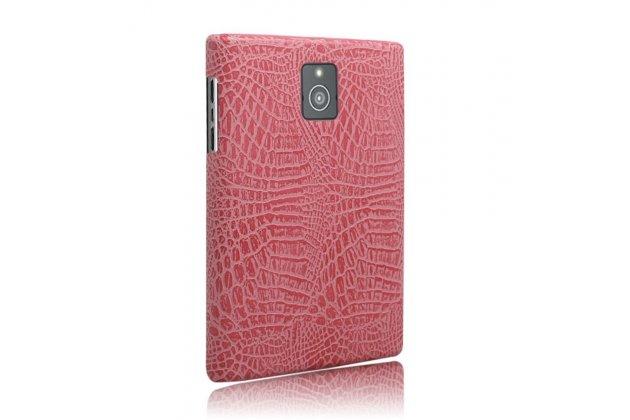 Роскошная элитная премиальная задняя панель-крышка с визитницей и мульти-подставкой обтянутая кожей под крокодила для blackberry passport q30 королевский розовый
