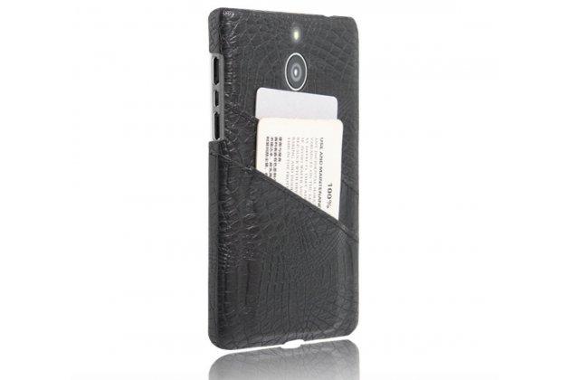 Роскошная элитная премиальная задняя панель-крышка для blackberry passport q30 из качественной кожи под крокодила с визитницей черная