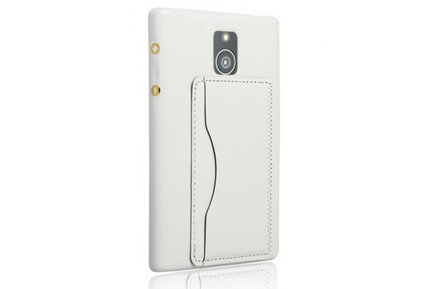 Роскошная элитная премиальная задняя панель-крышка с визитницей и мульти-подставкой обтянутая импортной кожей для blackberry passport q30 королевский белый