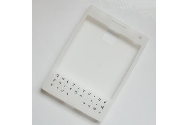 Силиконовый  чехол-пенал для blackberry passport q30 с 3d клавиатурой и защитой кнопок от пыли и воды белый