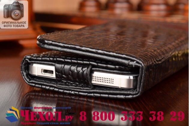 Роскошный эксклюзивный чехол-клатч/портмоне/сумочка/кошелек из лаковой кожи крокодила для телефона zte blade af3. только в нашем магазине. количество ограничено
