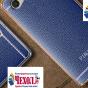 Премиальная элитная крышка-накладка на zte blade a610c 5.0 (ba601) синяя из качественного силикона с дизайном под кожу