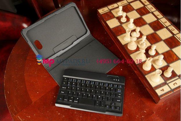 Чехол со съёмной bluetooth-клавиатурой для dell venue 8 pro 5830/8 pro 5000/8 pro 3000 черный кожаный + гарантия