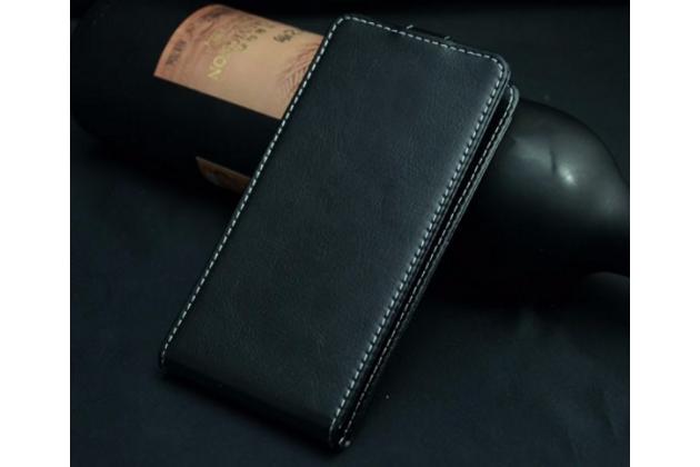"""Вертикальный откидной чехол-флип для fly nimbus 2 (fs452)  черный из натуральной кожи """"prestige"""" италия"""