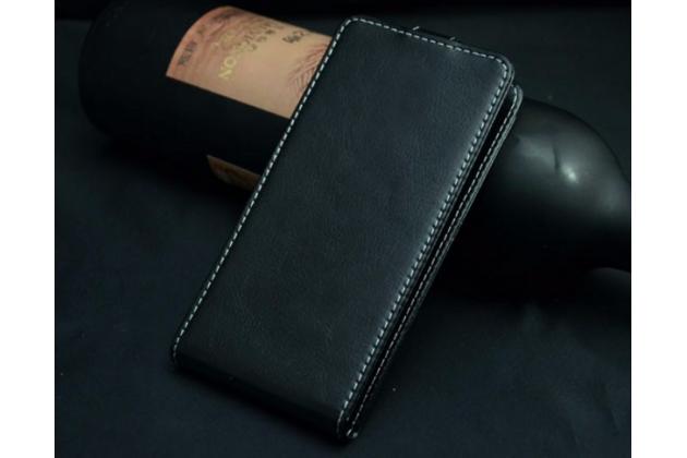 """Вертикальный откидной чехол-флип для fly cirrus 1 (fs502)  черный из натуральной кожи """"prestige"""" италия"""