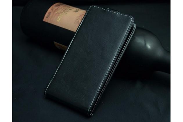 """Вертикальный откидной чехол-флип для fly nimbus 4 (fs551)  черный из натуральной кожи """"prestige"""" италия"""
