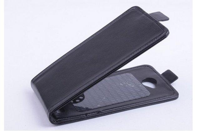 """Вертикальный откидной чехол-флип для fly iq4418 era style 4 черный кожаный """"prestige"""" италия"""