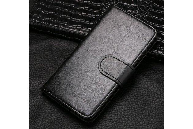 Чехол-книжка из качественной импортной кожи с подставкой застёжкой и визитницей для fly iq4418 era style 4 черый