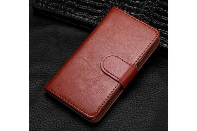 Чехол-книжка из качественной импортной кожи с подставкой застёжкой и визитницей для fly iq4418 era style 4 коричневый