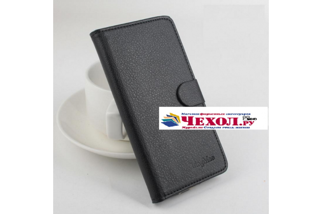 Чехол-книжка из качественной импортной кожи с подставкой застёжкой и визитницей для флай айкью 4403 энерджи 3 черный