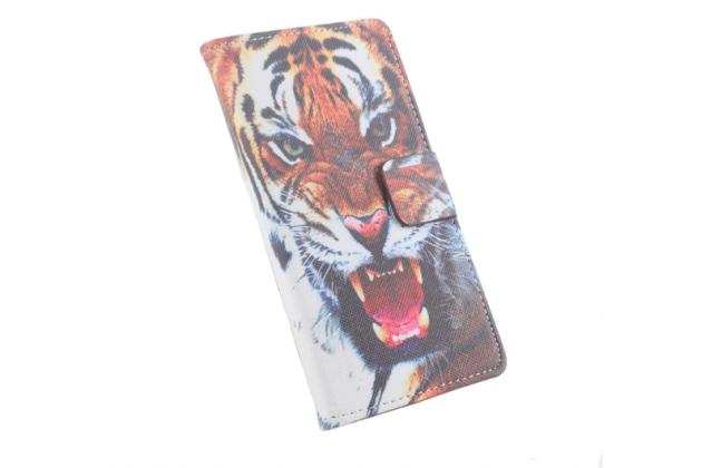 """Уникальный необычный чехол-подставка с визитницей кармашком на fly iq4403 energie 3  """"тематика тигр"""""""