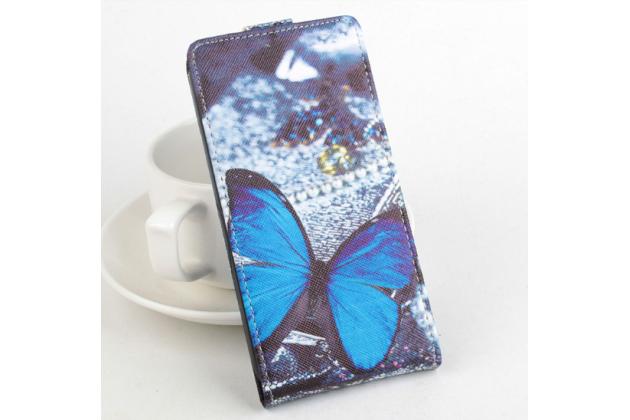 """Вертикальный откидной чехол-флип для fly iq4403 energie 3"""" """"тематика радужные бабочки"""""""