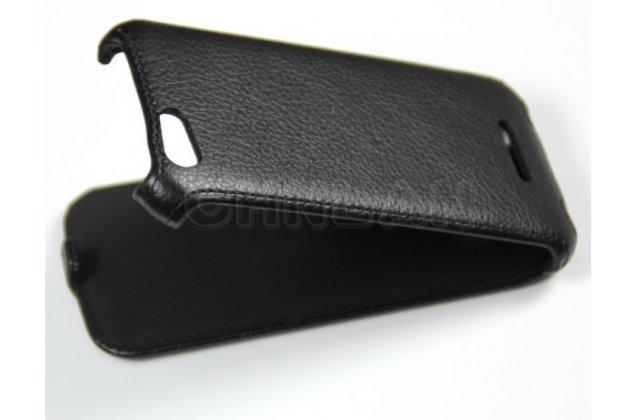 """Вертикальный откидной чехол-флип для fly iq4405 evo chiс 1 черный кожаный """"prestige"""" италия"""