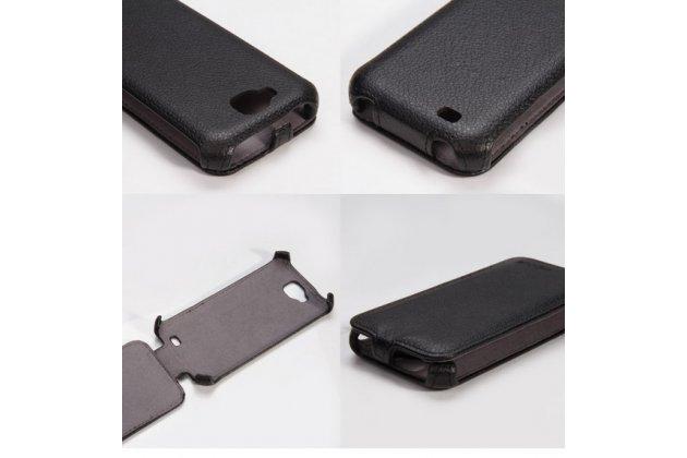 """Вертикальный откидной чехол-флип для fly iq4406 era nano 6 черный кожаный """"prestige"""" италия"""