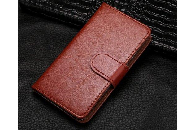Чехол-книжка из качественной импортной кожи с подставкой застёжкой и визитницей для fly iq4416 era life 5 коричневый