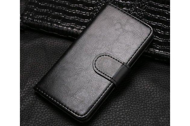 Чехол-книжка из качественной импортной кожи с подставкой застёжкой и визитницей для fly iq4416 era life 5 черный