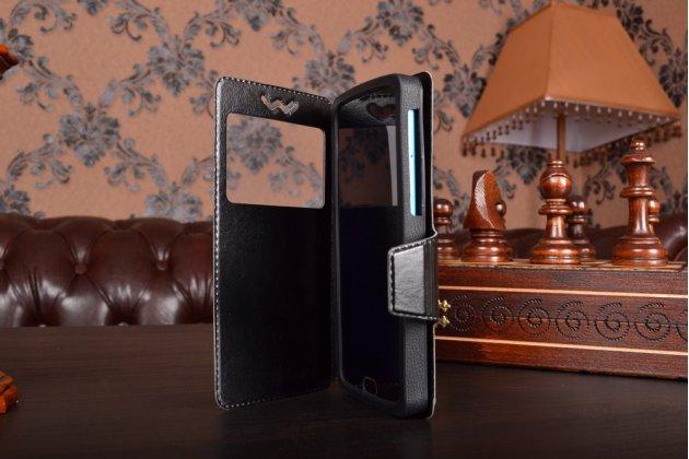 Чехол-книжка для acer liquid gallant duo e350 кожаный с окошком для вызовов и внутренним защитным силиконовым бампером. цвет в ассортименте