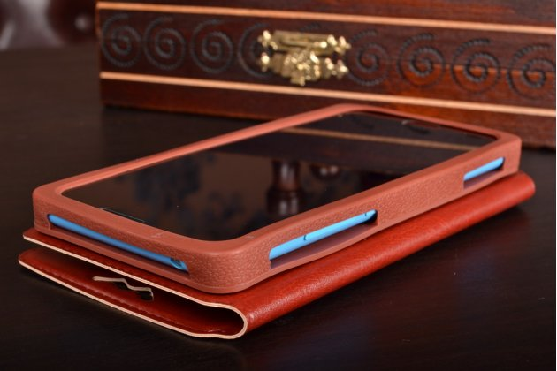 Чехол-книжка для zte nubia m2 кожаный с окошком для вызовов и внутренним защитным силиконовым бампером. цвет в ассортименте