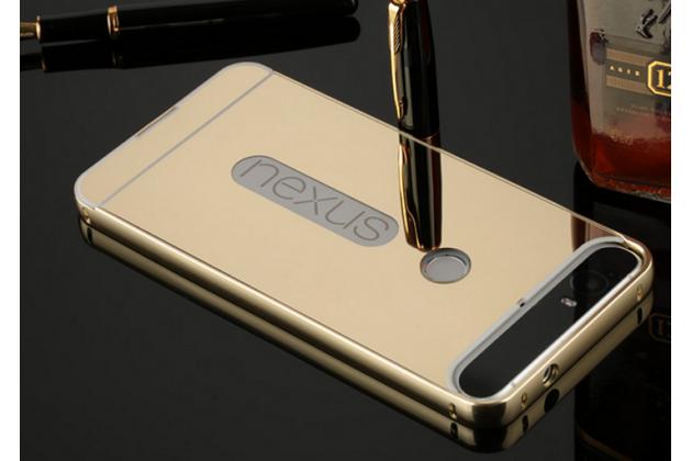 Металлическая задняя панель-крышка-накладка из тончайшего облегченного авиационного алюминия для huawei google nexus 6p золотая