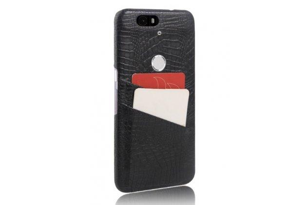 Роскошная элитная премиальная задняя панель-крышка для huawei google nexus 6p из качественной кожи буйвола с визитницей черный
