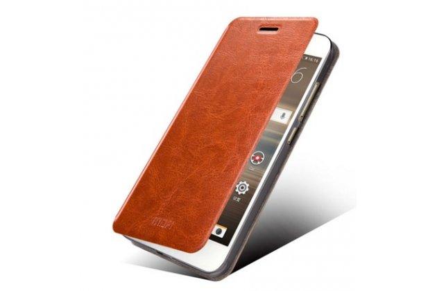 Чехол-книжка из качественной водоотталкивающей импортной кожи на жёсткой металлической основе для  huawei google nexus 6p коричневый