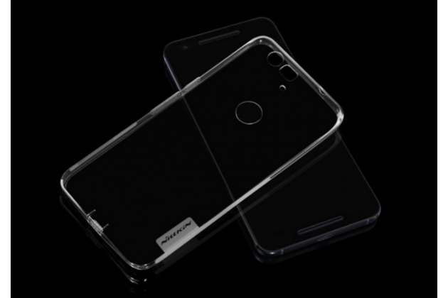 Ультра-тонкая полимерная из мягкого качественного силикона  с заглушками задняя панель-чехол-накладка для huawei google nexus 6p серебристая