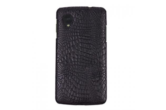 Роскошная элитная премиальная задняя панель-крышка на пластиковой основе обтянутая лаковой кожей крокодила  для lg nexus 5 d821 черная