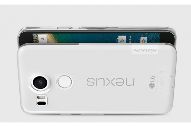 """Ультра-тонкая полимерная из мягкого качественного силикона  с заглушками задняя панель-чехол-накладка для lg google nexus 5x 5.2"""" серебристая"""